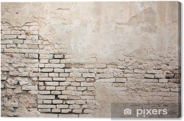Cuadro en Lienzo Color de la pared de ladrillo del grunge de edad con estuco dañado - Temas