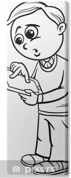 Cuadro En Lienzo Colorear Dibujos Animados Niño De La Escuela De Grado