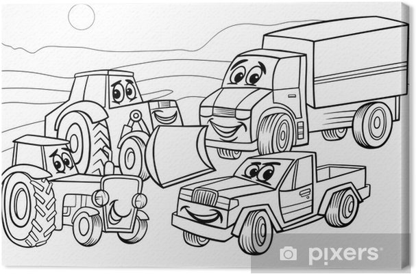 Cuadro en Lienzo Colorear máquinas vehículos de dibujos animados ...