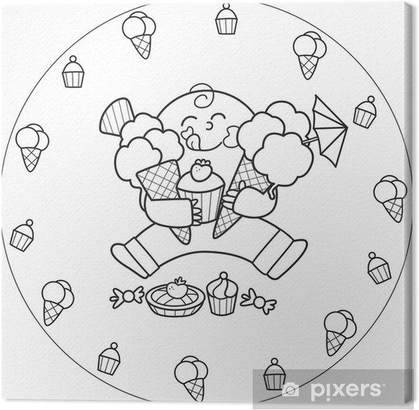Cuadro En Lienzo Colorear Niño Comiendo Un Helado Y Todo Tipo De