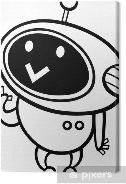 Cuadro En Lienzo Colorear Robot De Dibujos Animados Kawaii