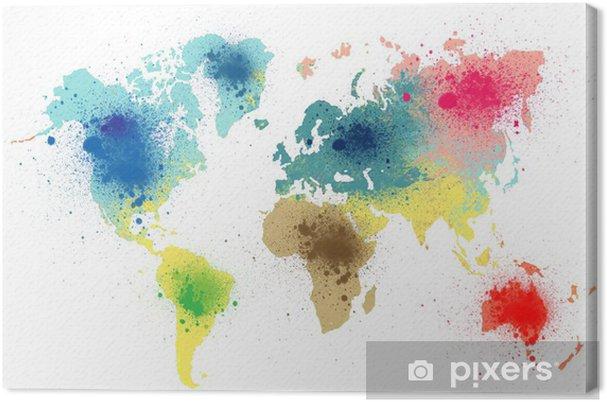 Cuadro en Lienzo Colorido mapa del mundo con salpicaduras de pintura - Arte y lifestyle