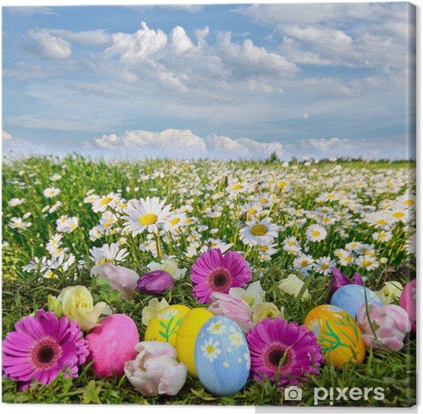 Cuadro en Lienzo Colorido prado de Pascua con flores y huevos de Pascua - Pascua