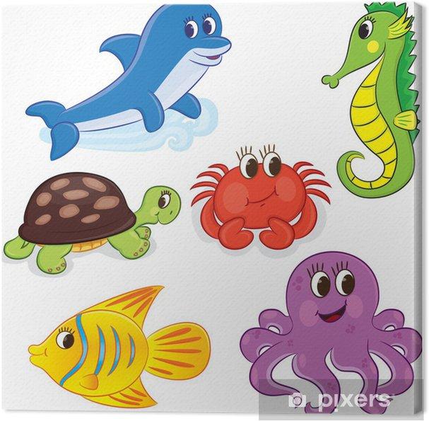 Cuadro En Lienzo Conjunto De Animales De Mar De Dibujos Animados Ilustración Del Vector Para Colorear