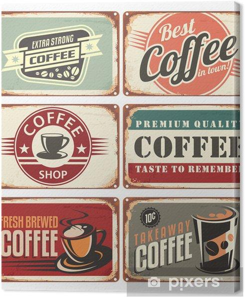 Cuadro en Lienzo Conjunto de muestras de la lata de café de la vendimia - Estilos