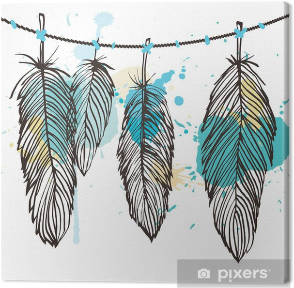 Cuadro en Lienzo Conjunto de plumas Aquarelle - Temas