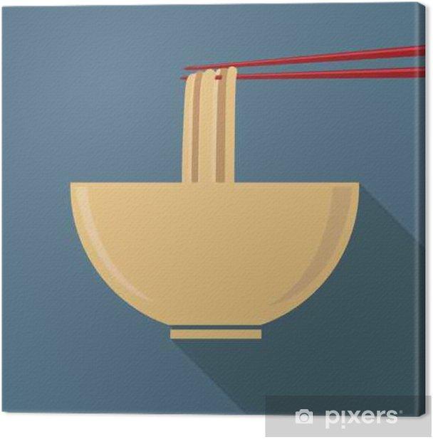 Cuadro en Lienzo Copa plana de fideos ramen con chopstrick - Comida