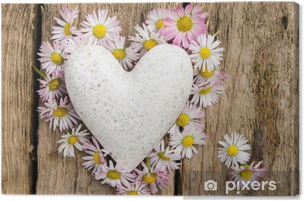 Cuadro en Lienzo Corazón de margaritas con corazón de mármol - Felicidad