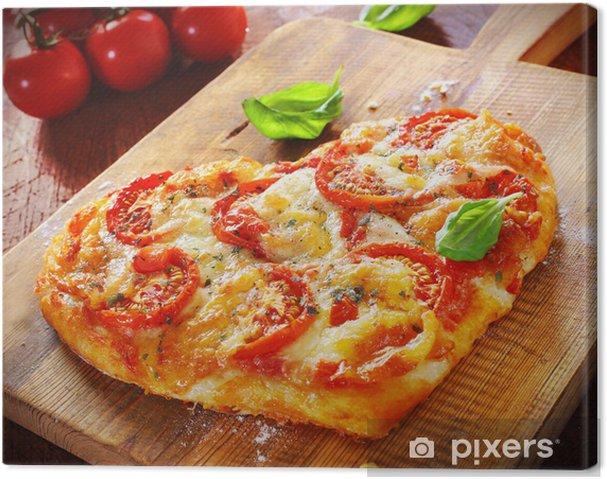 Cuadro en Lienzo Corazón en forma de pizza vegetariana - Temas