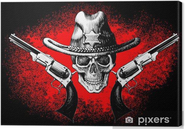 Cuadro en Lienzo Cráneo con el revólver - Vida