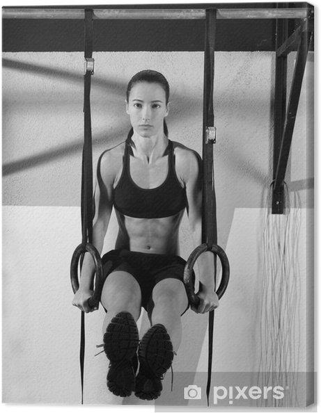 Cuadro en Lienzo Crossfit dip mujer anillo de entrenar en el gimnasio de inmersión - Destinos