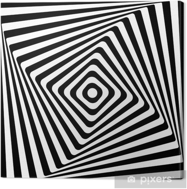 Cuadro en Lienzo Cuadrado abstracto Espiral Negro y blanco del fondo del modelo. -
