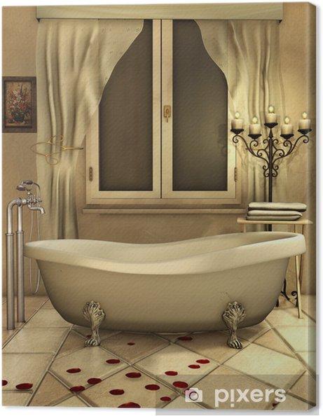 Cuadro en Lienzo Cuarto de baño con velas y pétalos de rosa