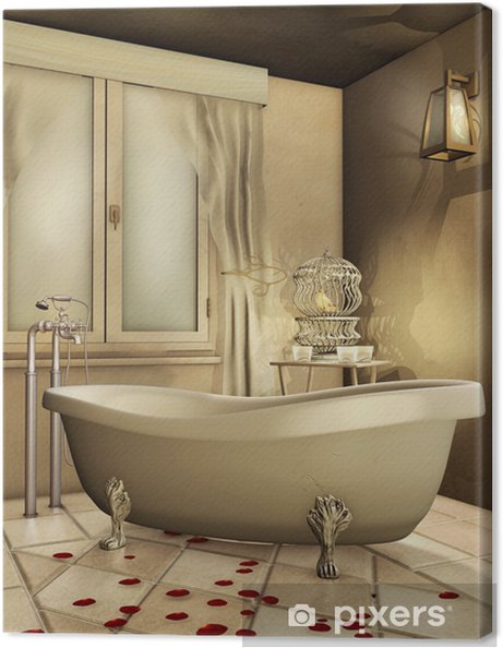 Cuadro en Lienzo Cuarto de baño retro con jaula y el canario