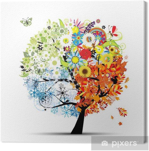 Cuadro en Lienzo Cuatro estaciones - primavera, verano, otoño, invierno. Arte árbol - Temas