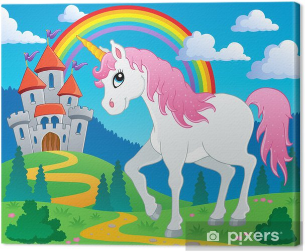 Cuadro en Lienzo Cuento de hadas unicornio imagen Tema 2 - Temas