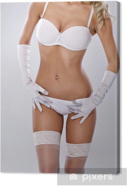 1369e60077 Cuadro en Lienzo Cuerpo de la mujer atractiva en ropa interior blanca
