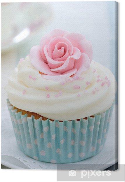Cuadro en Lienzo Cupcake rose - Caramelos y muffins