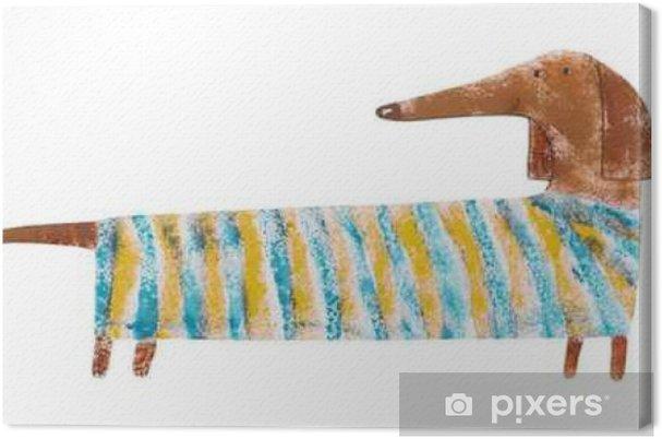 Cuadro en Lienzo Dachshund en juego rayado. ilustración dibujo a mano - Animales