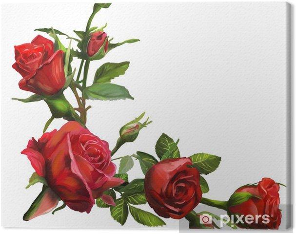Cuadro En Lienzo Decoración De Flores Rosas Rojas Pixers