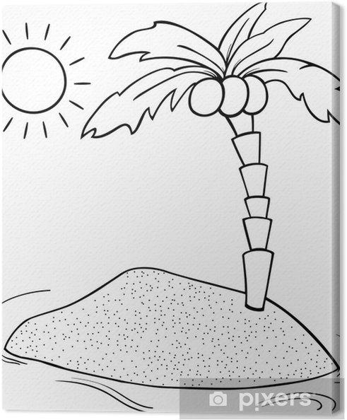 Palmboom Kleurplaat Cuadro En Lienzo Desierto Para Colorear De Dibujos