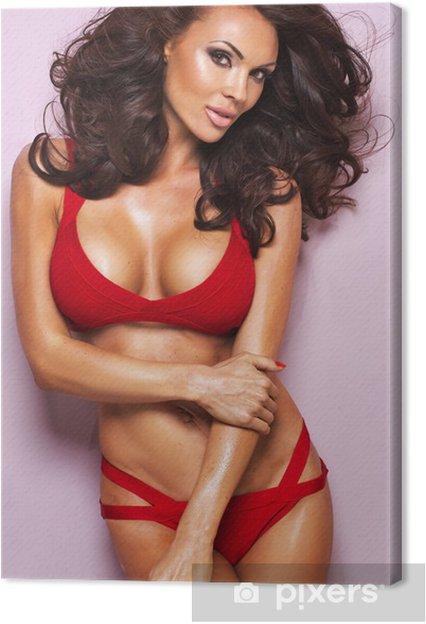 91e3510a2f Cuadro en Lienzo Desireble mujer morena llevaba ropa interior roja - Mujeres