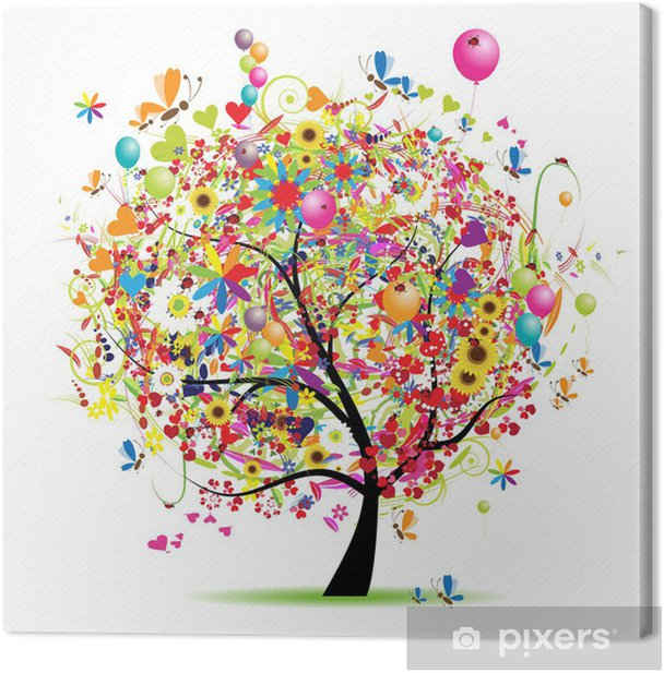 Cuadro en Lienzo Día de fiesta feliz, árbol divertido con los globos -