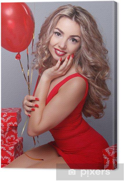 Cuadro en Lienzo Día de San Valentín. Hermosa mujer feliz con globos rojos del corazón o - Celebraciones internacionales
