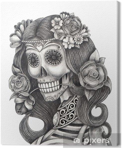 Cuadro En Lienzo Día Del Arte Del Cráneo De La Acción De La Cabeza