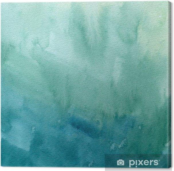 Cuadro en Lienzo Dibujado a mano de color azul turquesa, acuarela verde textura de la pintura abstracta. Raster gradiente de fondo de bienvenida. - Recursos gráficos