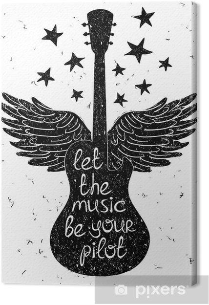 Cuadro en Lienzo Dibujado a mano ilustración musical con siluetas de guitarra. - Hobbies y entretenimiento