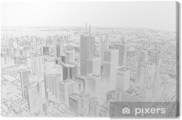 Cuadro en Lienzo Dibujo a lápiz de un horizonte de la ciudad de Toronto - Estilos