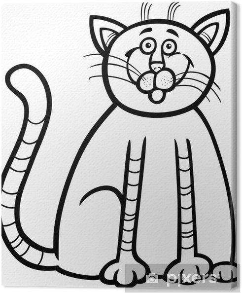 Cuadro en Lienzo Dibujo animado del gato feliz de libro para ...