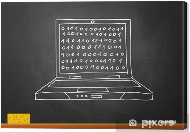 Cuadro En Lienzo Dibujo De La Computadora Portátil En La Pizarra