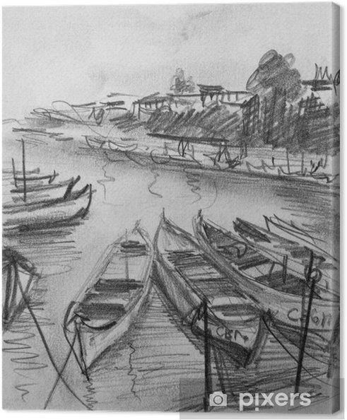 Cuadro En Lienzo Dibujo De Lápiz De Los Viejos Barcos De Pesca En
