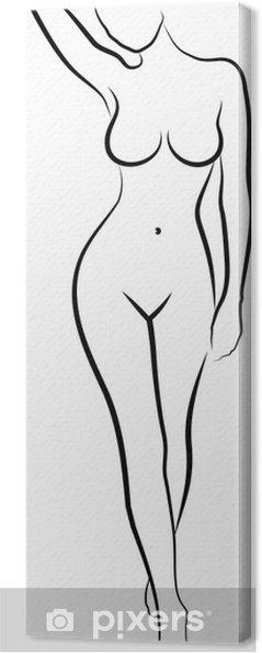 Cuadro En Lienzo Dibujo De Mujer Desnuda
