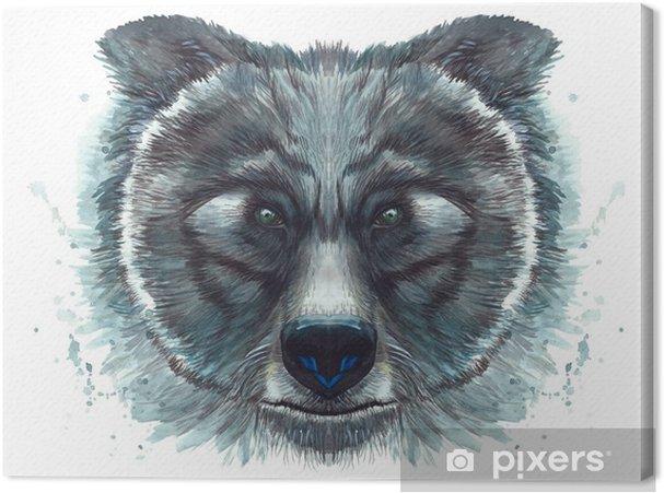 Cuadro En Lienzo Dibujo Pintado Con Cabeza De Acuarela De Un Oso