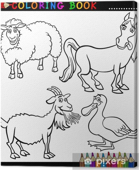 Cuadro En Lienzo Dibujos Animados Animales De Granja Para Colorear Libro
