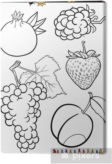 Cuadro En Lienzo Dibujos Animados Frutas Fijados Para Libro Para Colorear