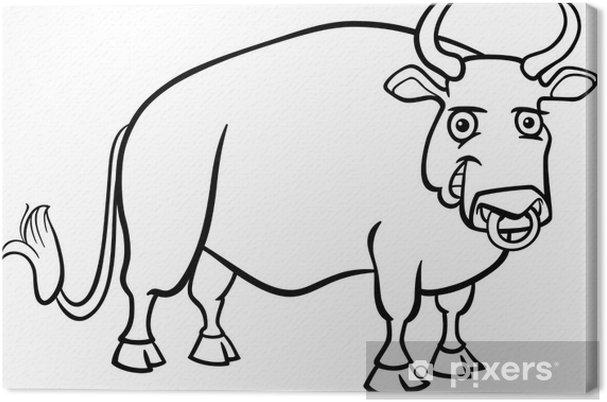 Cuadro En Lienzo Dibujos Animados Toro Granja De Libro Para Colorear