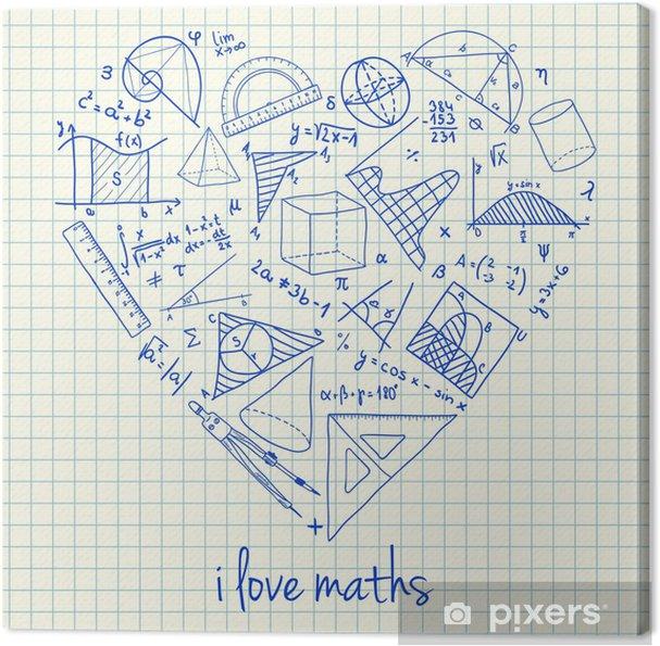 Dibujos Con Cuadros.Cuadro En Lienzo Dibujos Matematicas En Forma De Corazon Pixers