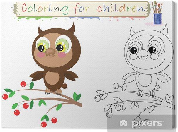 Cuadro En Lienzo Dibujos Para Colorear Para Niños Búho Lindo Divertido