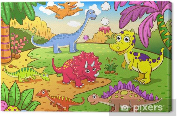 Cuadro En Lienzo Dinosaurios Lindos En Escena Prehistorica Pixers Vivimos Para Cambiar ⭐¡lindo dibujos animados de dinosaurios para colorear incluye más de 100. cuadros en lienzo dinosaurios lindos en escena prehistorica