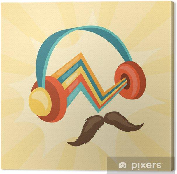 Cuadro en Lienzo Diseñar con los auriculares y el bigote de estilo inconformista. - Moda