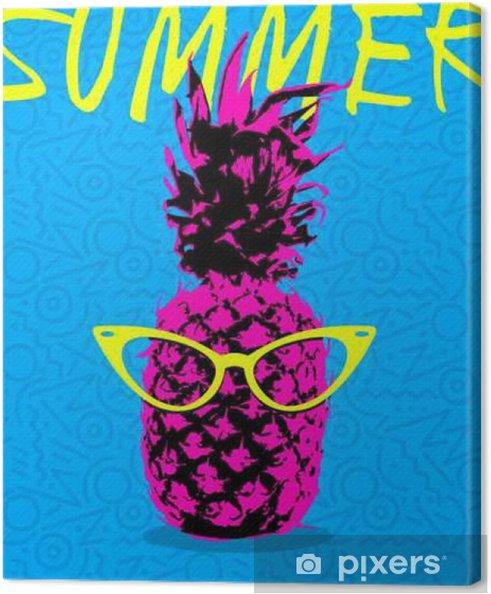 Cuadro en Lienzo Diseño del verano de piña con vidrios del inconformista - Comida