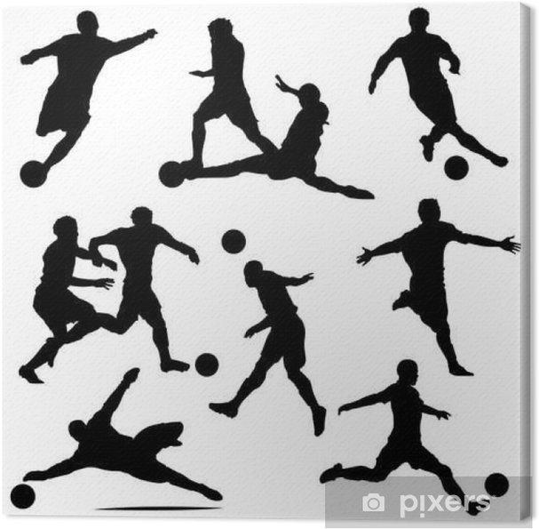 Cuadro en Lienzo Diversas siluetas del jugador de fútbol del vector - Deportes