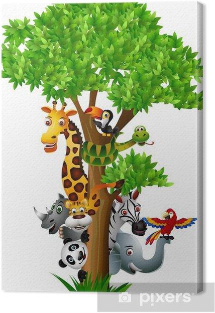 Cuadro en Lienzo Diversos safari animales divertidos dibujos animados para ocultar detrás de un árbol - Vinilo para pared