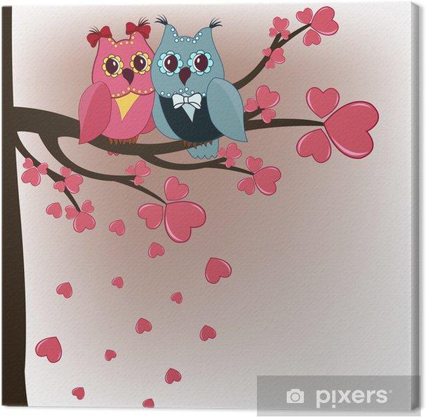 Cuadro en Lienzo Dos búhos en un árbol amantes con corazones - Temas