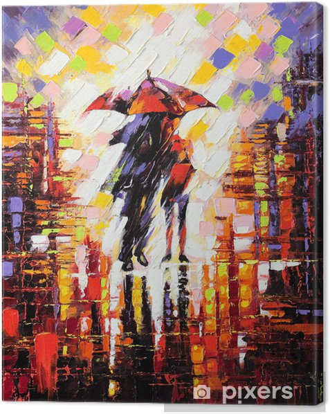 Cuadro en Lienzo Dos enamorados bajo un paraguas -