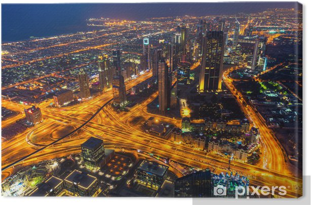 Cuadro en Lienzo Dubai horizonte al atardecer - Asia